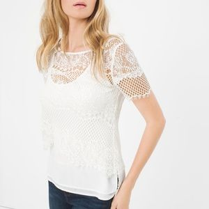 WHBM NWOT layered lace top white tank underneath